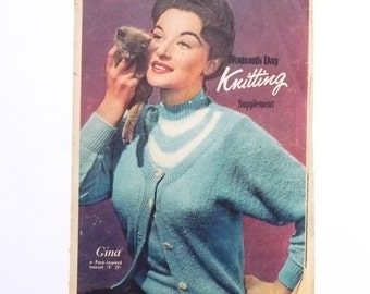 Womans Day Knitting Supplement 1956 Retro Midcentury Knitting Patterns