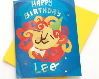 LEO BIRTHDAY CARD || silver foil card, birthday card, zodiac card, astrology card, happy leo birthday, zodiac sign