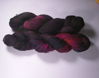 Dark Dimension on Lolo 75/25 SW Merino Nylon Hand dyed fingering weight sock yarn