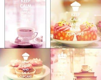Digital file collection, tea time, keep calm shabby chic cupcakes, pink tea wall art, shabby chic kitchen decor, printable digital photos