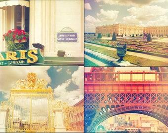 Digital file collection, Paris shabby chic decor, travel printable wall art, vintage style Eiffel, palace, cottage decor, printable digital