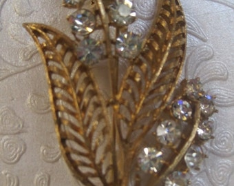 Gold And Rhinestone Floral Brooch, Vintage Brooch, Vintage Jewelry