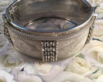 Silver Mesh Cuff Bracelet With Rhinestone Accents, Vintage Jewelry, Floral Motif, Show Piece, Safety Chain, 1950's,