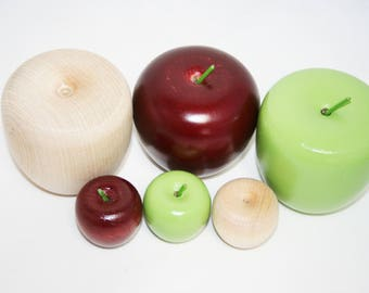 "2-1/2"" Red Wooden Apple, Unfinished Wood or Green Apple, Home Decor, Pretend Play, Teachers Apple, Educational Game,Wedding Decor, Red Apple"