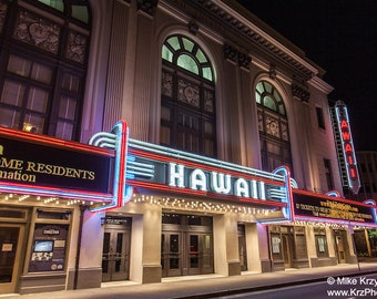 Historic Hawaii Theatre at Night in Downtown Honolulu