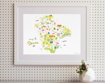 Map of Devon Art Print