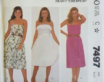 1980's McCall's 7497 Make It Tonight Misses Dress Sewing Pattern, Size 10, UNCUT