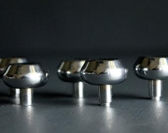 Vintage Drawer Pulls Polished Stainless Steel Metal Cabinet Hardware Set Of Five 5