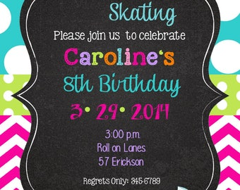 Skating- party-Peace Love Party Birthday invitations with envelopes   chalk- chalkboard -any colors-roller skating