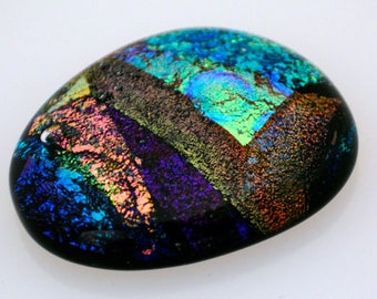 Dichroic Cabochon, Jewelry Cab, Mosaic Tiles, Decorative Tile, Handmade Jewelry Cabochon