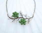 Dainty Double Fresh Green Succulents on Vine Necklace. Succulent Vine Necklace. Succulent Vine Jewelry