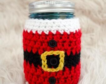Little Santa Mason Jar Cozy - Crochet Pattern
