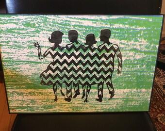Green Chevron Dance (UNFRAMED)