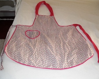 Vintage Pink Calico Full Apron with Heart Pocket--Faded