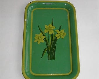 Vintage Green Metal Tray with Yellow Daffodils