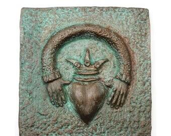 Claddagh / Claddagh art tile, Celtic tile, handmade art tile, cast stone claddagh plaque/tile, Irish art, Ireland tile