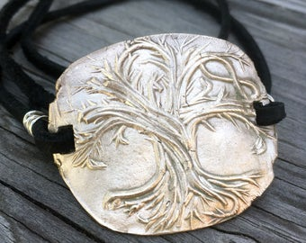 Bronze Tree of Life Bracelet with Infinity Symbol Sterling Silver and Black Leather