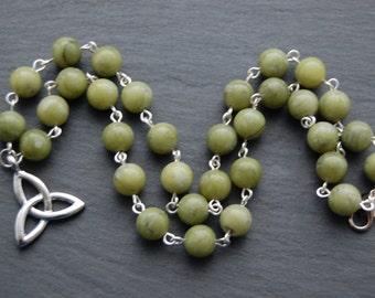 Green Connemara Marble Triple Celtic Knot Necklace. Pagan Wicca Witch Druid Ireland Irish Erin Sidhe Brigid Brigit Brighid Bridget Bride