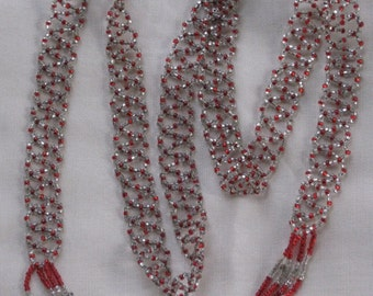 "Antique Long Glass Beaded 1920s ""Tie"" Necklace with Tassel Ends - Red, Clear, Silver Beads - Art Deco, Flapper - Vintage Jewelry, Accessory"