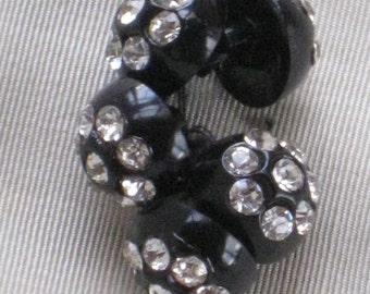 Set of 5 Vintage Black Plastic Buttons With Rhinestone Centers - Shanked - Hollywood Regency - Sewing, Crafting, Jewelry Supplies