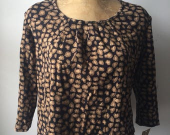 90s Leopard Print Crop Top Size P/L Cheetah Pattern 1990s Womans Vintage Shirt