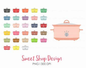 Crock Pot Clip Art, Slow Cooker Clip Art, Rainbow Colors, Dinner, Cooking, Retro, Planner Stickers, Instant Download