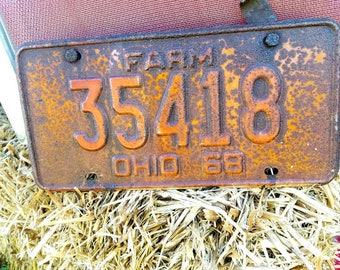 Vintage Rustic FARM License plate, 1968 Ohio, rustic decor, garage, mancave