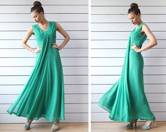 Vintage shiny green floor length wide flared skirt pleated top evening maxi gown dress S