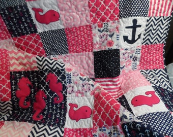 Nautical baby girl quilt in navy and pink, toddler crib quilt, whales, seahorses, anchors