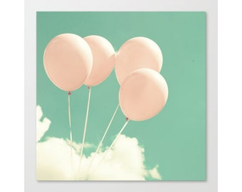 Nursery decor boy nursery wall art boy, coral nursery decor, pink nursery decor, mint nursery decor, nursery prints, nursery art, balloons