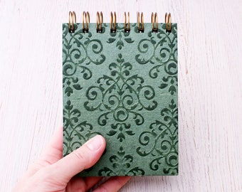 Small spiral notebook green embossed / recycled notebook / blank notebook / pocket notebook / green notebook / sketchbook / green notepad