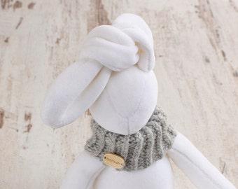 Stuffed Bunny handmade animal toy plush baby shower white Easter rabbit plushie in gray scarf