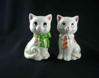 Lefton Cats with Ties Salt and Pepper Shakers Vintage White Kitties