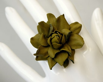 Olive green leather rose flower ring