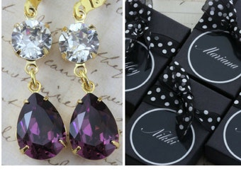 Purple Bridesmaid Earrings Set of 3 4 5 6 7 8 9 10 Gold Amethyst Bridal Party Gift Name Box Personalized Bridesmaid Jewelry Avail as Clip On