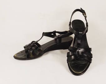ETIENNE AIGNER Black Leather Sandals US Size 8M