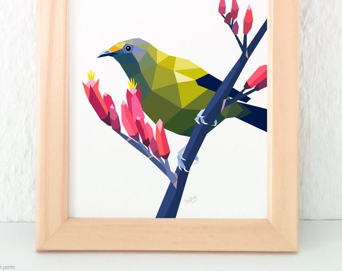Bellbird print, Bellbird art, Native New Zealand birds, New Zealand art, Geometric bird, Tui, Kiwi, NZ artist, Green and red, NZ postcard