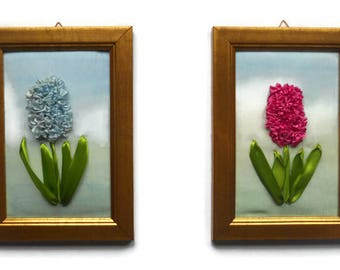 Fiber Art Embroidery ribbon flowers picture Wall hanging Textile art