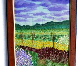 Fiber Art  Wall hanging framed Textile picture  Embroidered  landscape