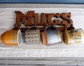 RESERVED for Molly (2 mugs) Vintage Ceramic Mugs with Mug Rack, Instant Collection, Cabin Decor, Retro Coffee Mugs