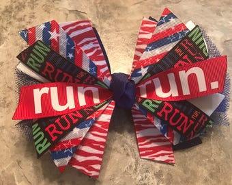 Running hair bow - cross country bow - girls run - red white blue bow - run bow - 4th of July run bow - track bow - race hair bow - marathon