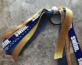Swimming Pony o - Swim Streamers - Swimming Hair Tie - Swim Ribbon - Swimming Bow - Pony Streamers - Swim Ponytail - Swim Team - Swimming