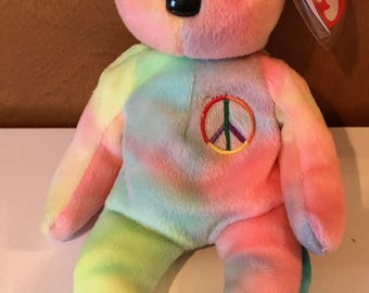 Peace (Pinkish) Beanie Babies Bear.