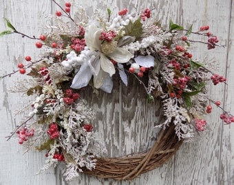 Christmas Wreath, Holiday Wreath, Frosted Pine Berry Wreath, Winter Wreath, Elegant Christmas, Magnolia Wreath, Red White and Green Wreath