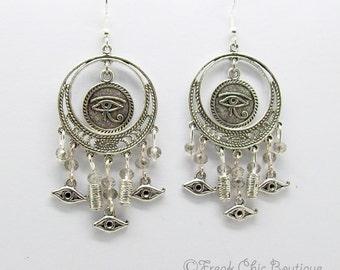 Eye Of Horus Earrings, Crystal, 925 Silver Ear wires, Ujat, Egyptian Earrings, Wadjet Earrings, Egyptian God,