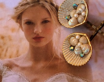 Bridal Ocean Beach Shell Vintage Bobby Pins