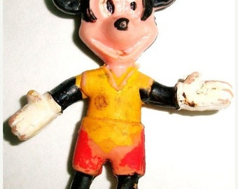 ON SALE Vintage Mickey Mouse rubber bendable tiny collectible toy Disney Collectible Childs Toy Small Rubber Toy