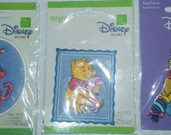 Three (3) Wrights-Disney-Iron-On-Appliques-Winnie-the-Pooh-Tigger-and-Gang