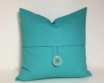Aqua petite square pillow cover. Button pillow cover. Brushed canvas 12x12 petite square decorative sofa throw pillow, home decor accent