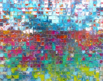 XXL Original Mosaic Art by Caroline Ashwood - Modern contemporary abstract painting on canvas - FREE SHIPPING